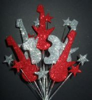 ROCK GUITAR BIRTHDAY CAKE TOPPER IN RED & SILVER - CHOOSE ANY AGE - Free postage